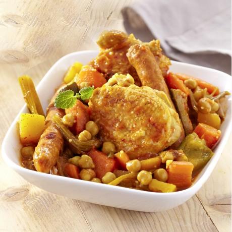 Couscous poulet, merguez et boeuf (semoule vendue séparément)