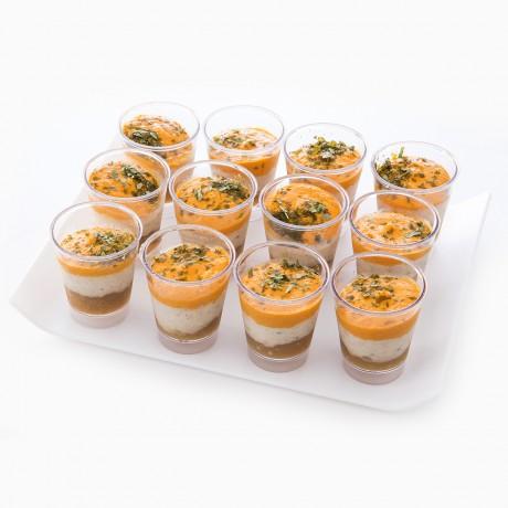 Verrines Saint-Jacques, carottes et pommes fondantes