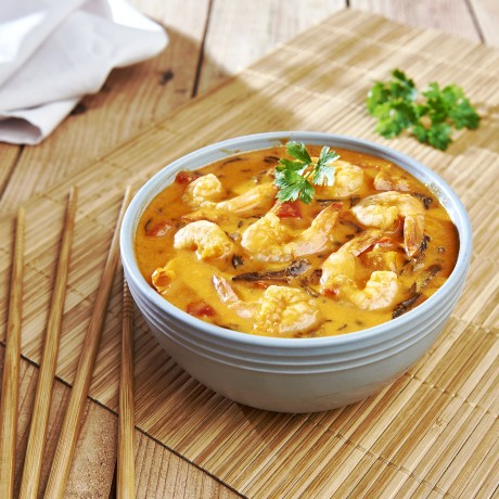 Crevettes sauce curry rouge