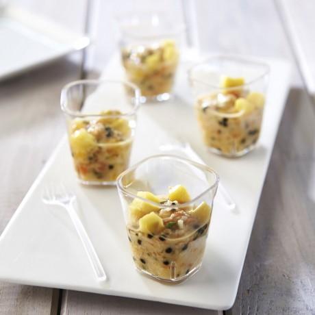 Verrines crevettes et surimi Mandarine et mangue