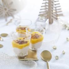 Verrines foie gras de canard Chutney de mangue et ananas