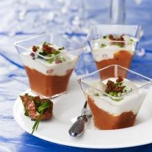 Verrines tomates marinées et noix de Saint-Jacques