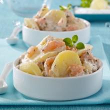 Salade saumon pommes de terre, moutarde
