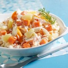 Salade Alaska, duo ananas et carottes au surimi
