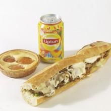 -Formule poulet épicé Sandwich baguette + boisson + dessert